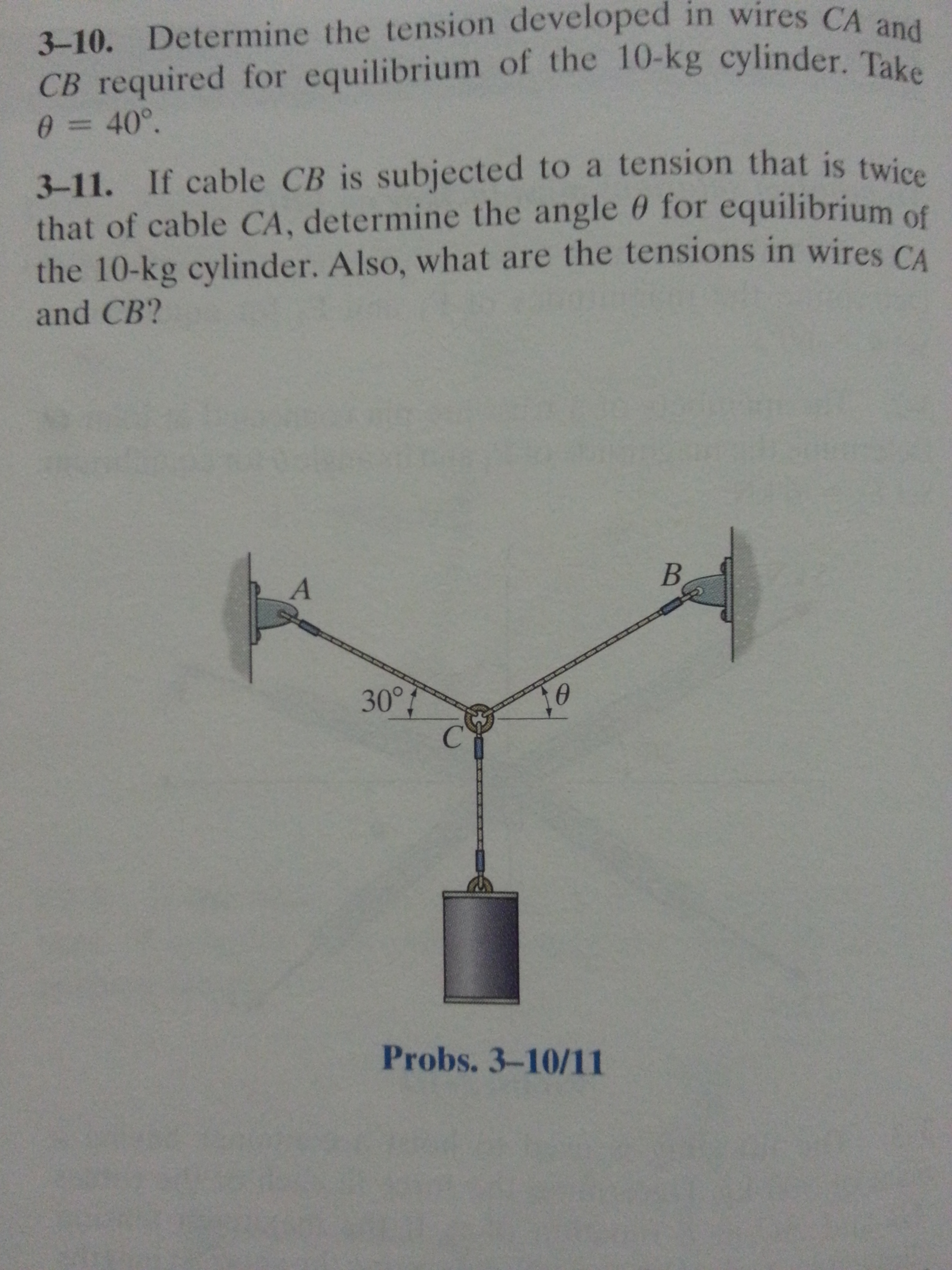 Determine the tension developed in wires CA and CB