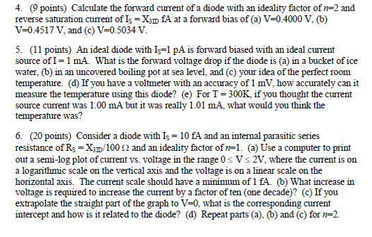 Calculate the forward current of a diode with an i