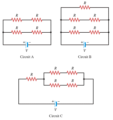 Each resistor in the three circuits in the drawing