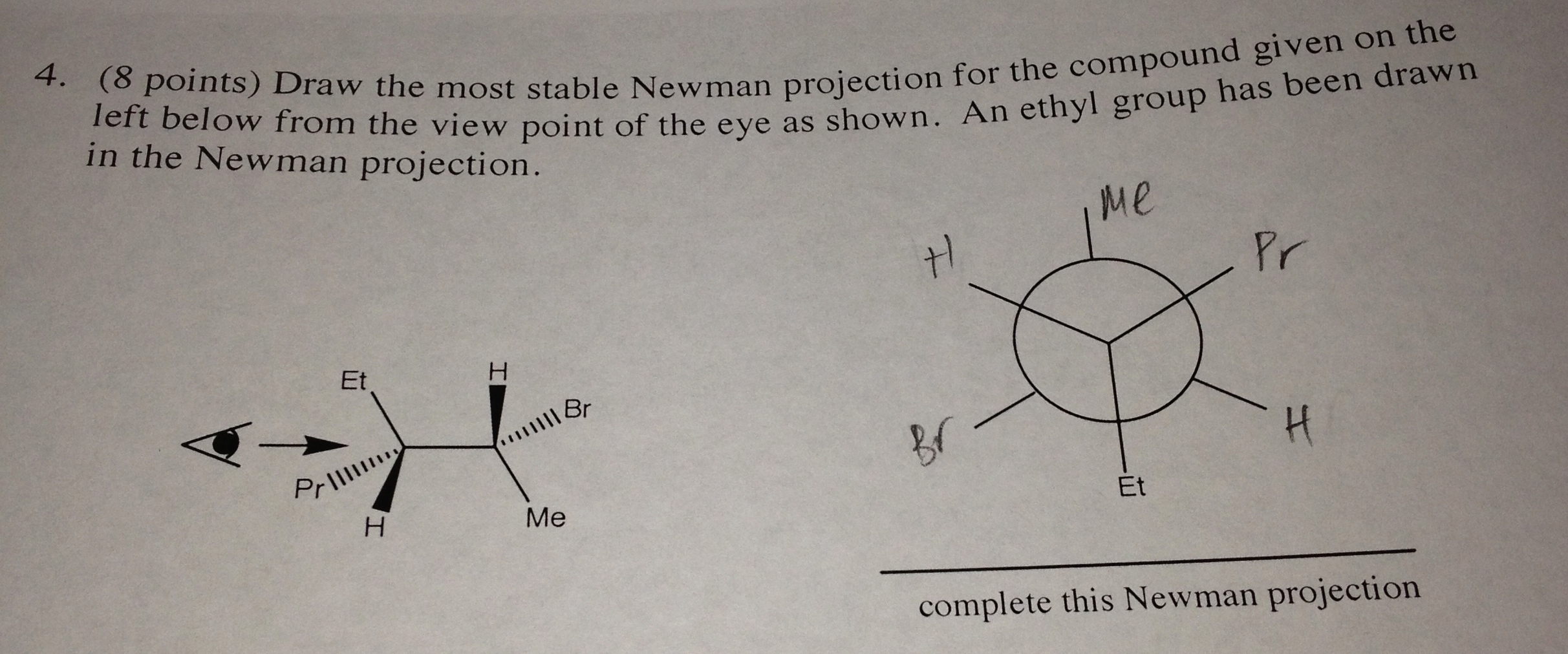how to draw a compound in newman projection