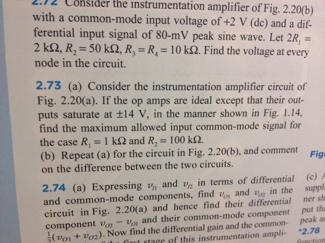 Consider the instrumentation amplifier of Fig. 2 2
