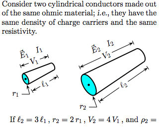 Consider two cylindrical conductors made out of th
