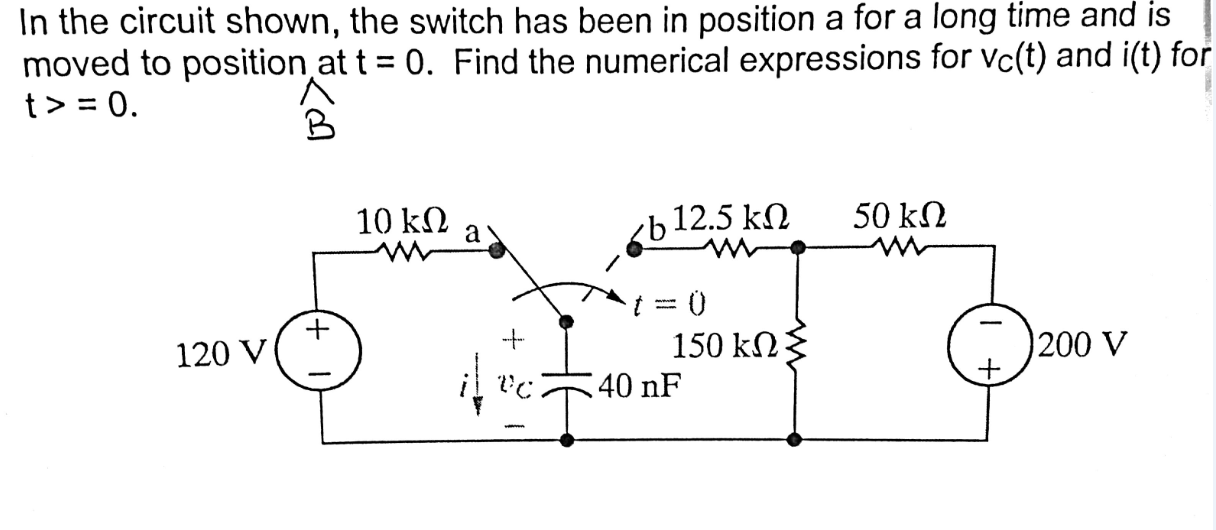 In the circuit shown, the switch has been in posit