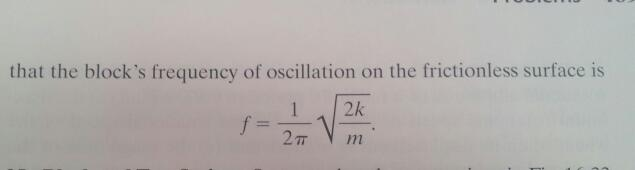 that the block's frequency of oscillation on the f