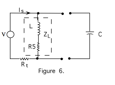 Figure 6 indicates a voltage source, V, connected