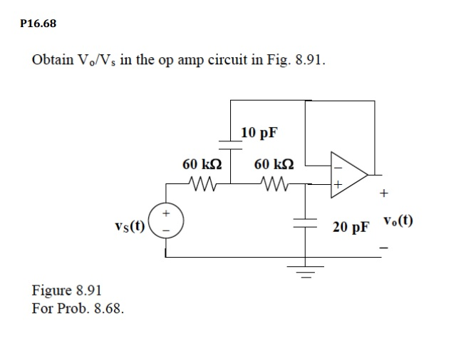 Obtain Vo/Vs in the op amp circuit in Fig. 8.91.