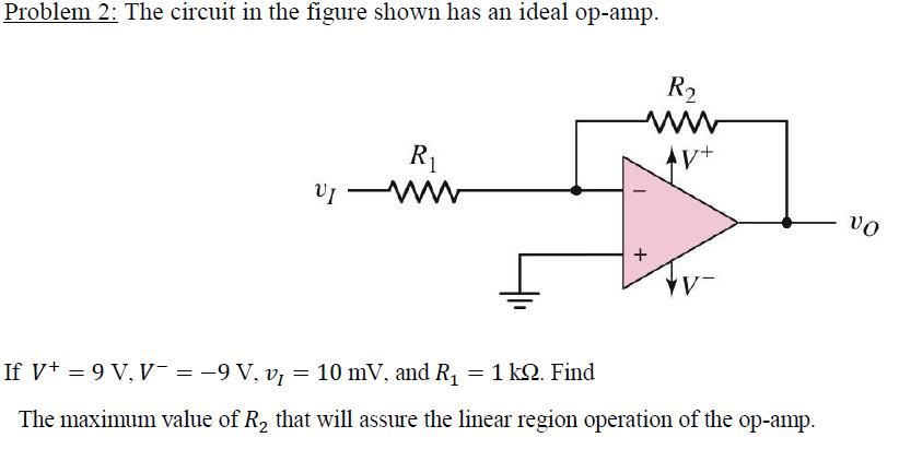 The circuit in the figure shown has an ideal op-am