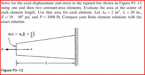 Solve for the axial displacement and stress in the