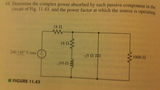 Determine the complex power absorbed by each passi