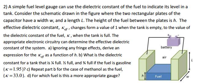 A simple fuel level gauge can use the dielectric c