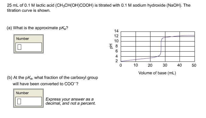 25 mL of 0.1 M lactic acid (CH3CH(OH)COOH) is titr