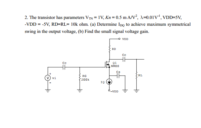 The transistor has parameters V TN = 1V, Kn = 0.5