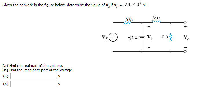Given the network in the figure below, determine t