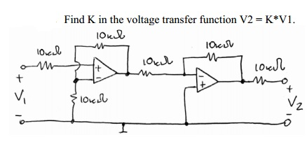 Find K in the voltage transfer function V2 = K*V1.