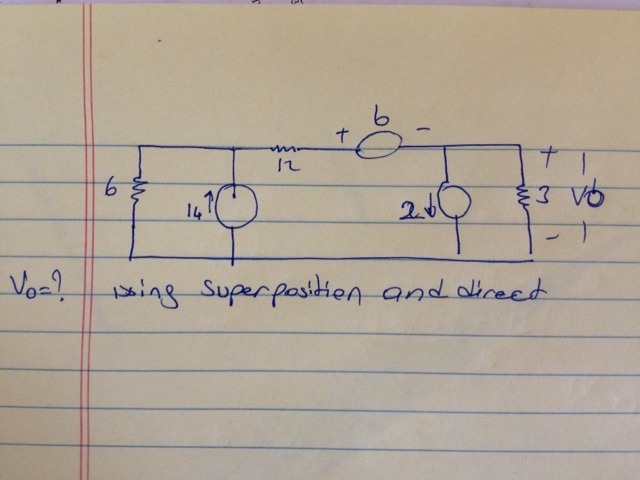 Vo=? Using superposition and direct