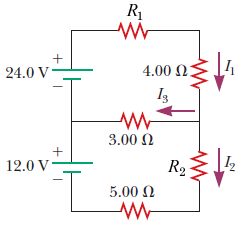Consider the figure below. (Let V = 12 V, R1 = 2.1