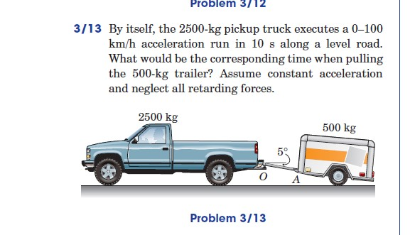 By itself, the 2500-kg pickup truck executes a 0-1