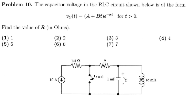 The capacitor voltage in the RLC circuit shown bel