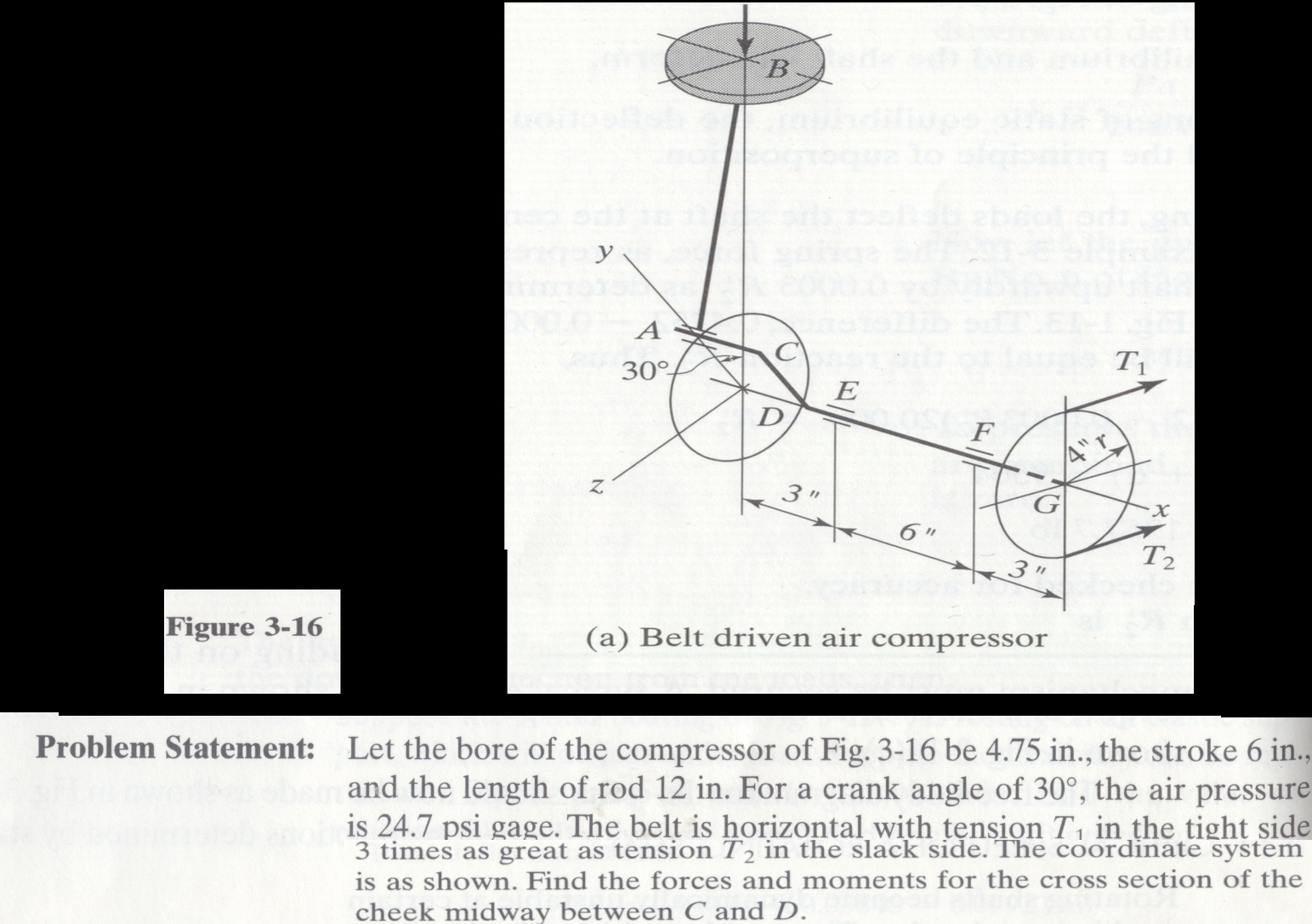 Let the bore of the compressor of Fig. 3-16 be 4.7