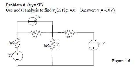 (vk = 2v) Use nodal analysis to find v0 in (Answ