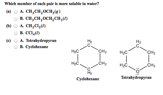 Which member of each pair is more soluble in water