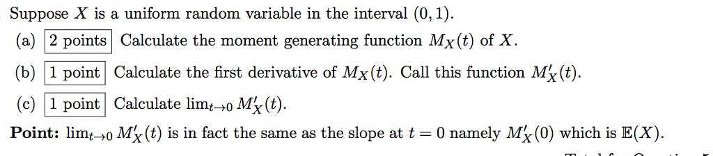 how to cazlculate mean of a uniform random variable
