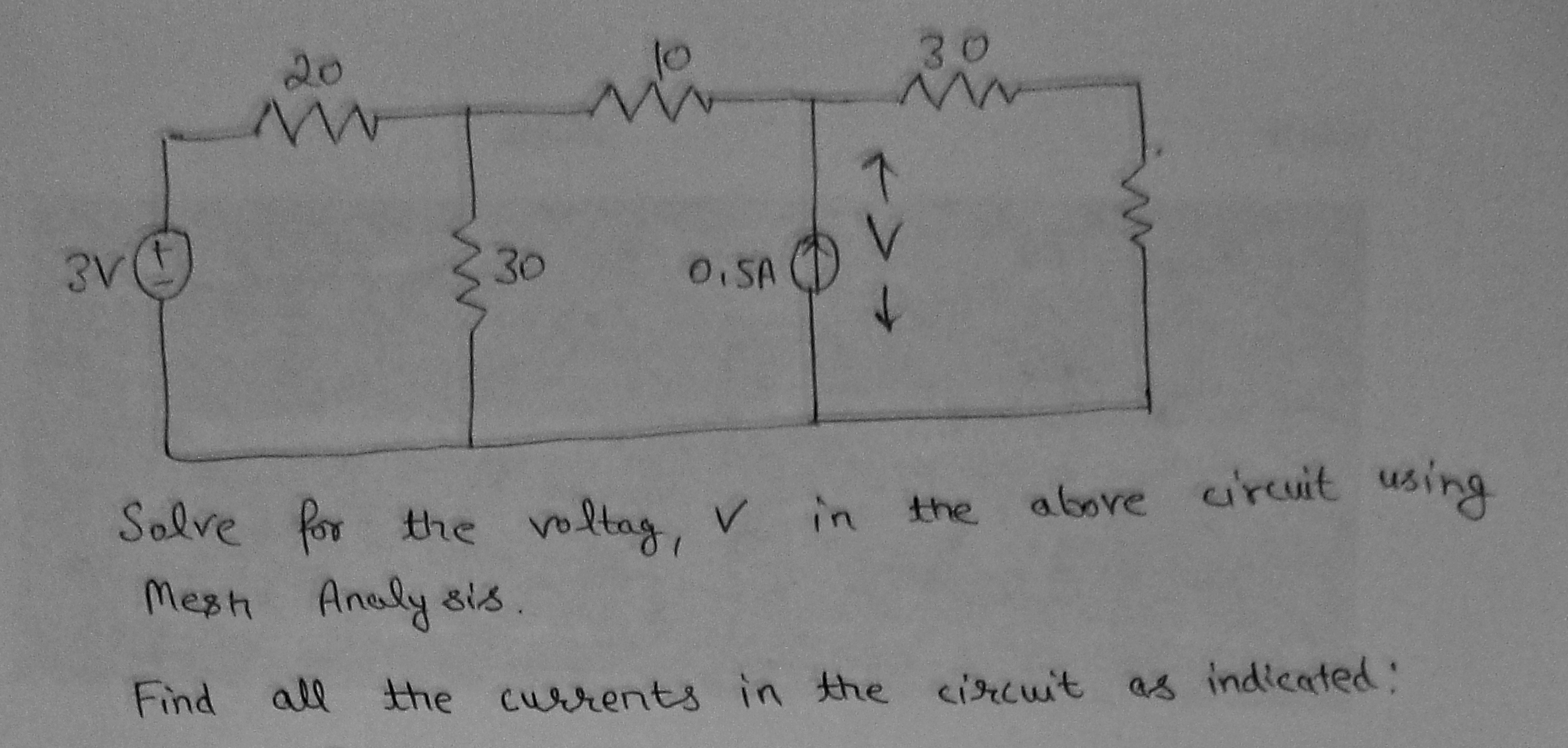 Solve for the voltage, V in the above circuit us
