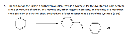 The azo dye on the right is a bright yellow color.