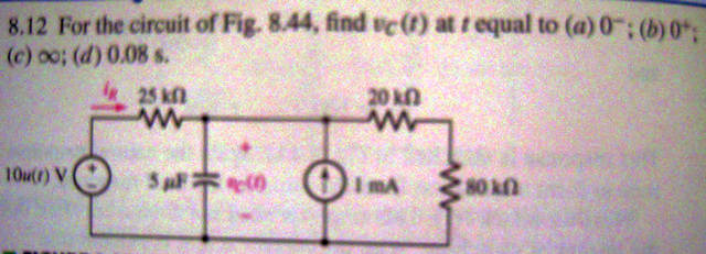 For the circuit of Fig. 8.44, find vc(t) at t equa