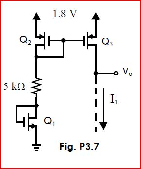 The three-transistor circuit shown in Fig. P3.7 is