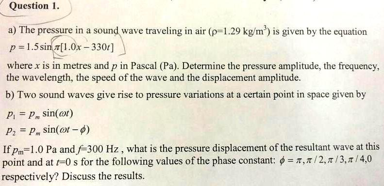 The pressure in a sound wave traveling in air (p=1
