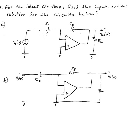 For the ideal Op-Amp, find the input -output relat