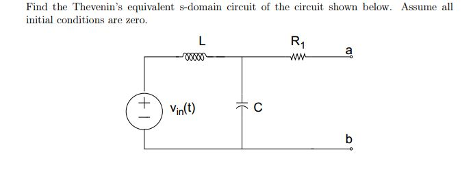Find the Thevenin's equivalent s-domain circuit of