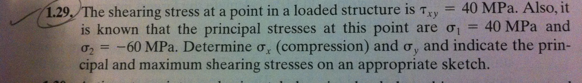 The shearing stress at a point in a loaded structu