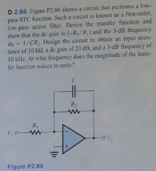 Figure P2.86 shows a circuit that performs a low-p