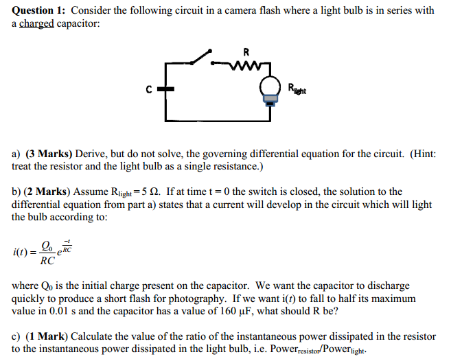 Consider the following circuit in a camera flash w