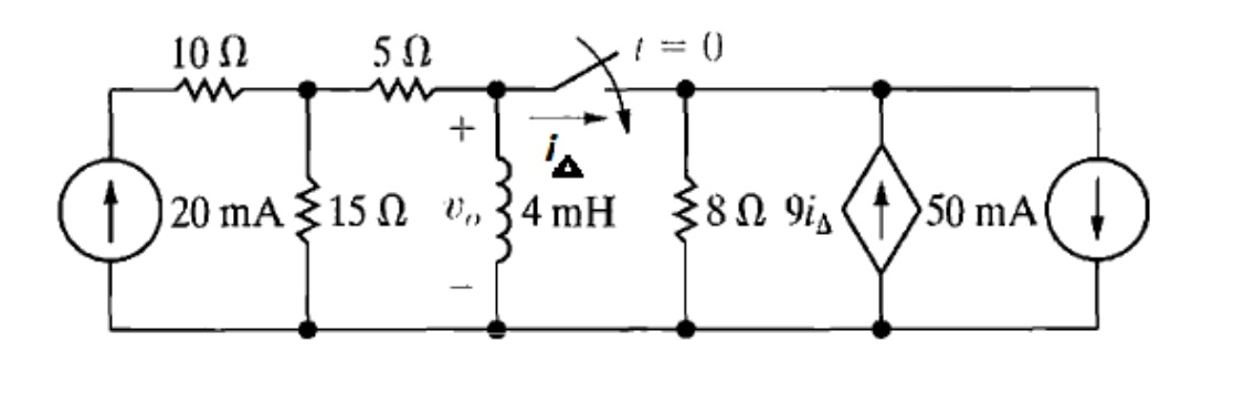 For the circuit below, the switch in the circuit h