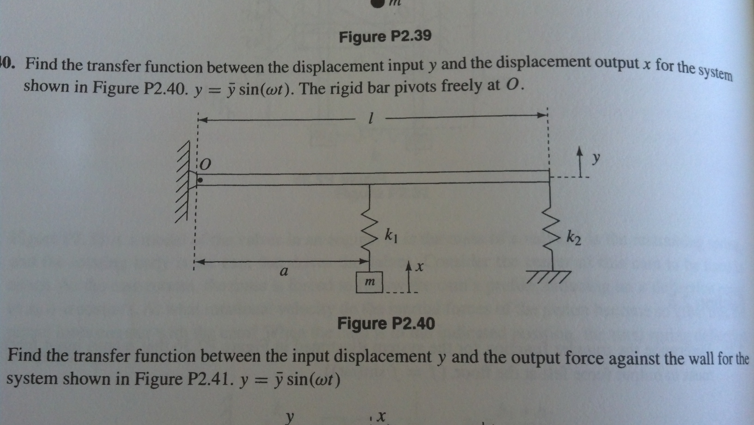 Find the transfer function between the displacemen