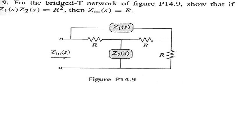 For the bridged-T network of figure P14.9, show th