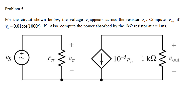 For the circuit shown below, the voltage appears a