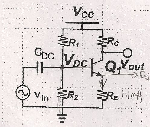 Calculate the DC voltage in the emitter and the ba