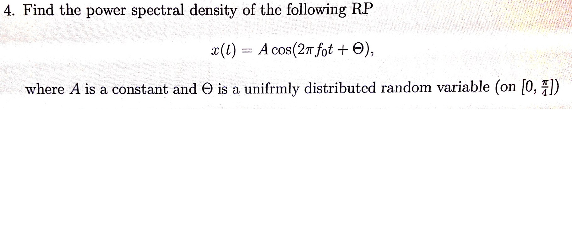 Find the power spectral density of the following R