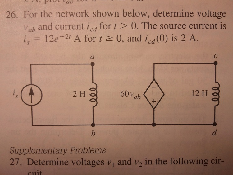 For the network shown below, determine voltage vab