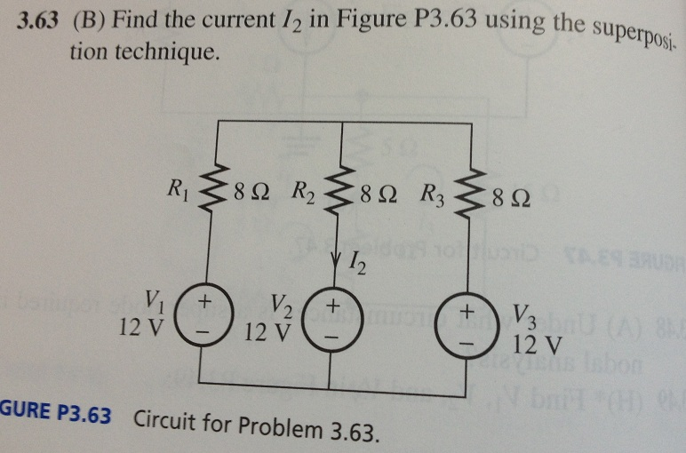 Find the current I2 in Figure P3.63 using the supe