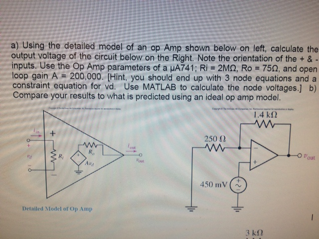 Using the detailed model of an op Amp shown below