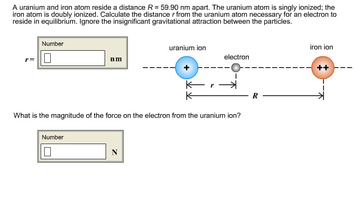 A uranium and iron atom reside a distance R = 59.9
