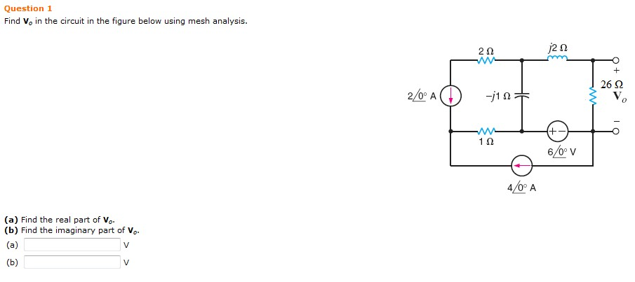 Find V0 in the circuit in the figure below using m