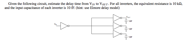 Given the following circuit, estimate the delay ti