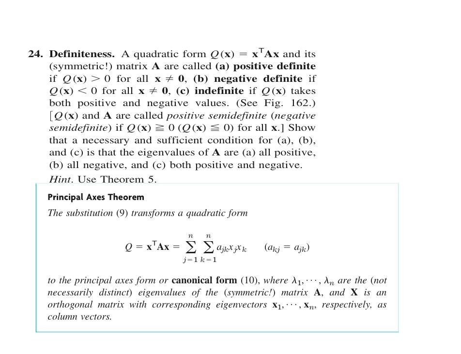 Definiteness. A Quadratic Form Q(x) = XT Ax And It...   Chegg.com