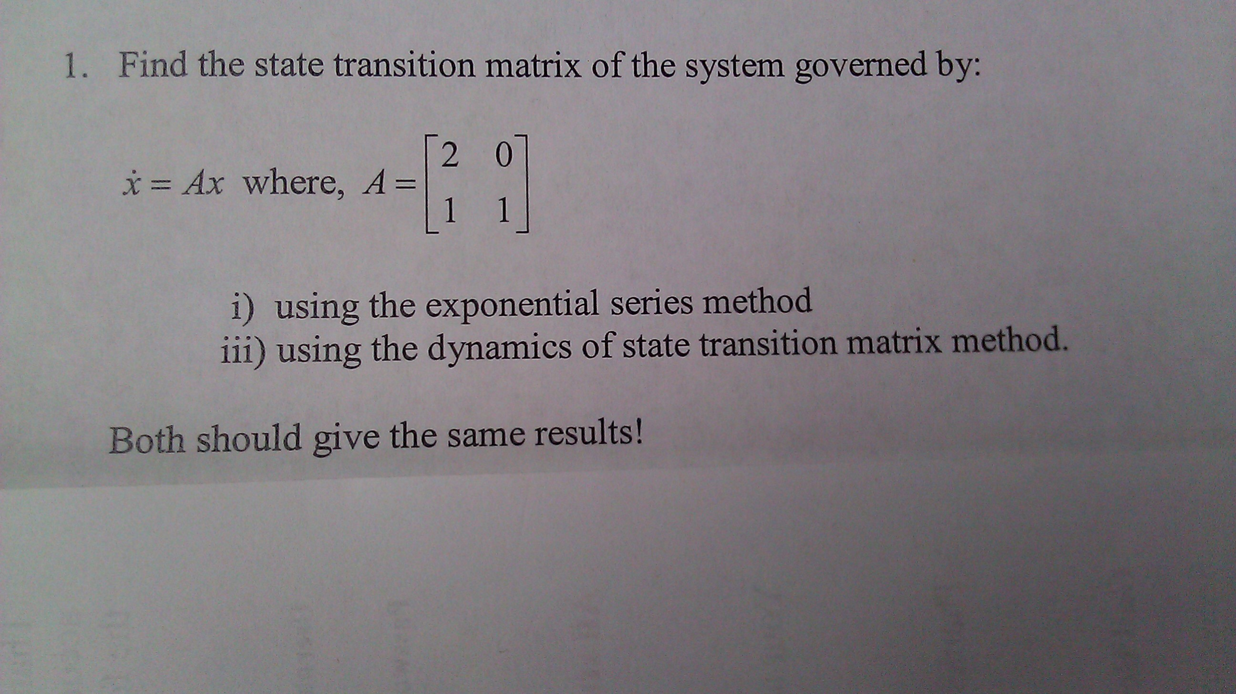 Find the state transition matrix of the system gov
